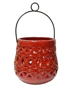 Подсвечник керамический с ручкой красный