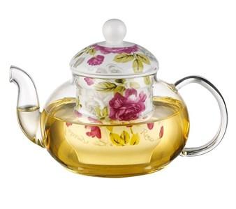 """Чайник стеклянный заварочный """"Розы"""" 700 мл"""