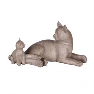 "Статуэтка ""Кошка с котенком"" бежевая"