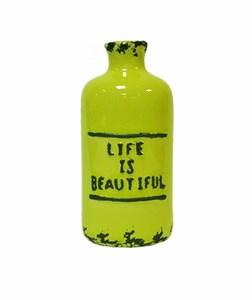 Бутылочка керамическая зеленая