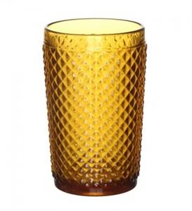 """Стакан """"Винтаж"""" желтый из цветного стекла"""