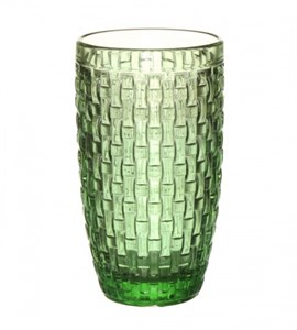 """Стакан """"Плетеный"""" зеленый из цветного стекла"""