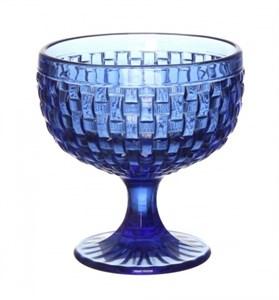 """Креманка """"Плетеная"""" синяя 300 мл из цветного стекла"""