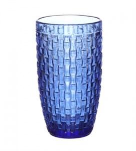 """Стакан """"Плетеный"""" синий из цветного стекла"""