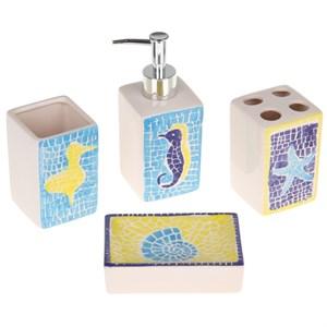 """Набор для ванной """"Морская мозайка"""": дозатор, мыльница, стакан для щеток, стакан"""