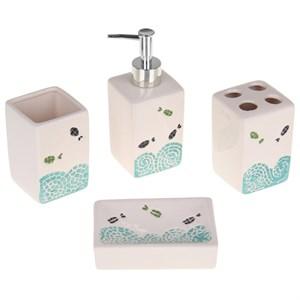 """Набор для ванной """"Рыбки"""": дозатор, мыльница, стакан для щеток, стакан"""