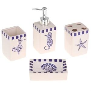 """Набор для ванной """"Морская тема"""": дозатор, мыльница, стакан для щеток, стакан"""