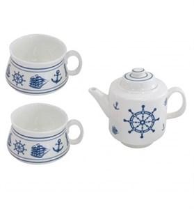 """Чайный набор """"Морской"""": чайник 450 мл и две кружки 200 мл, в ассортименте"""