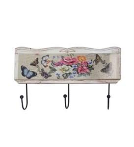 """Вешалка с тремя крючками """"Бабочки и цветы"""""""