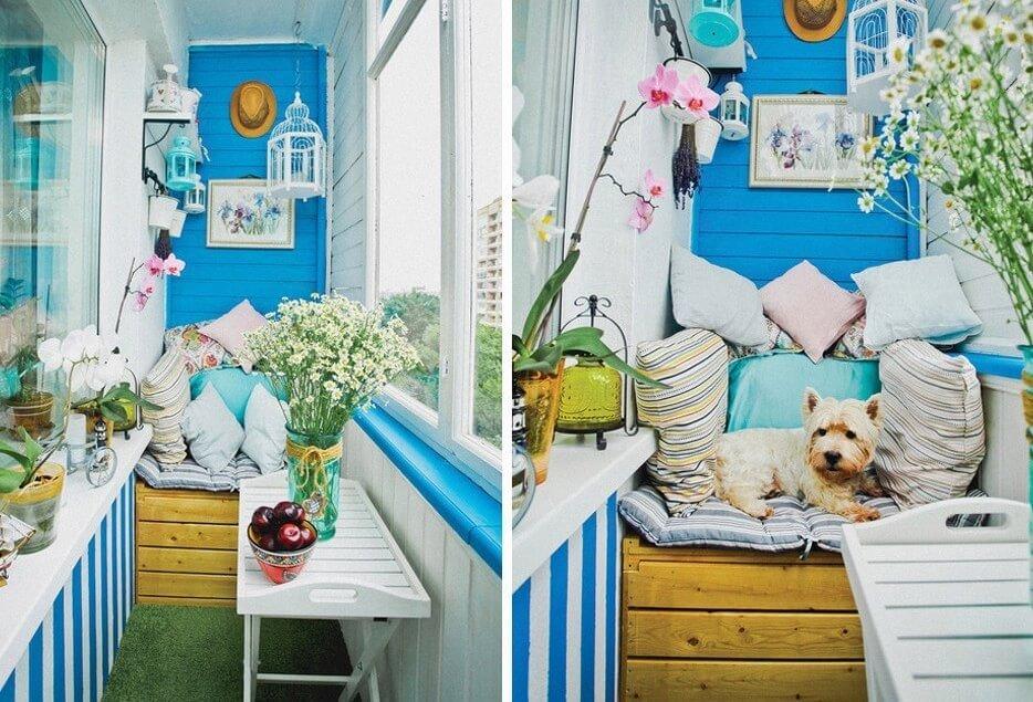 Дизайн балкона в морском стиле фото